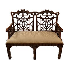 English Chippendale Style Fretwork Settee, circa 1920s