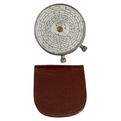 """English Circular """"Twelve-Ten"""" Calculator with Leather Case by Fowler and Co."""