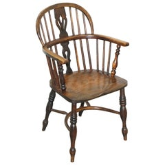 English Classic Antique Victorian 19th Century Elm and Ashwood Windsor Armchair