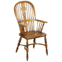 English Classic Antique Victorian 19th Century Elm High Back Windsor Armchair