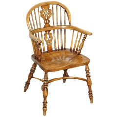English Classic Antique Victorian 19th Century Elm Hoop Back Windsor Armchair