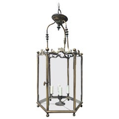 English Classical Bronze Hall Four-Light Lantern with Original Glass, circa 1860