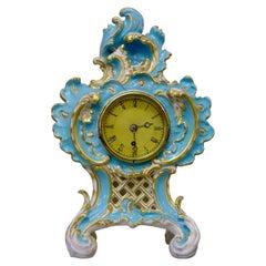 English Coalbrookdale Porcelain Cased Vulliamy Mantel Clock