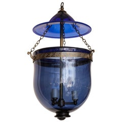 English Cobalt Blue Hanging Glass Lantern