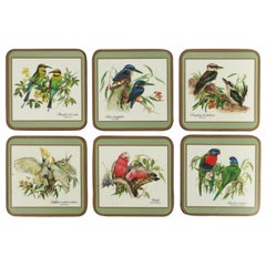 English Cocktail or Drink Coasters with Bird Designs