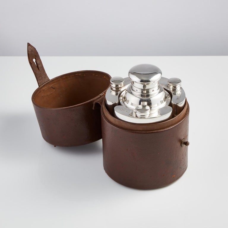 English Cocktail Set in a Leather Case, circa 1930 In Excellent Condition For Sale In London, GB