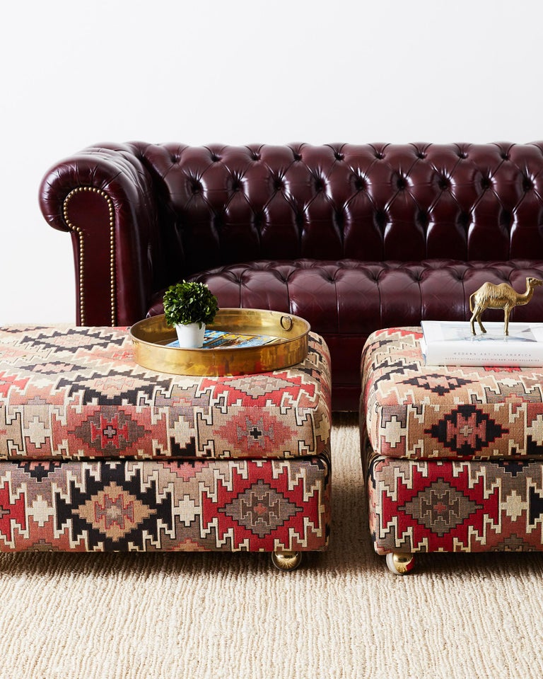 English Cordovan Tufted Leather Chesterfield Sofa For Sale