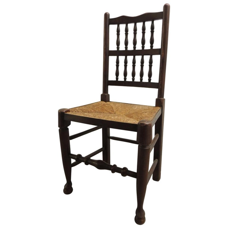 English Country Antique Wood Dining Chair with Rush Seat For Sale - English Country Antique Wood Dining Chair With Rush Seat For Sale At