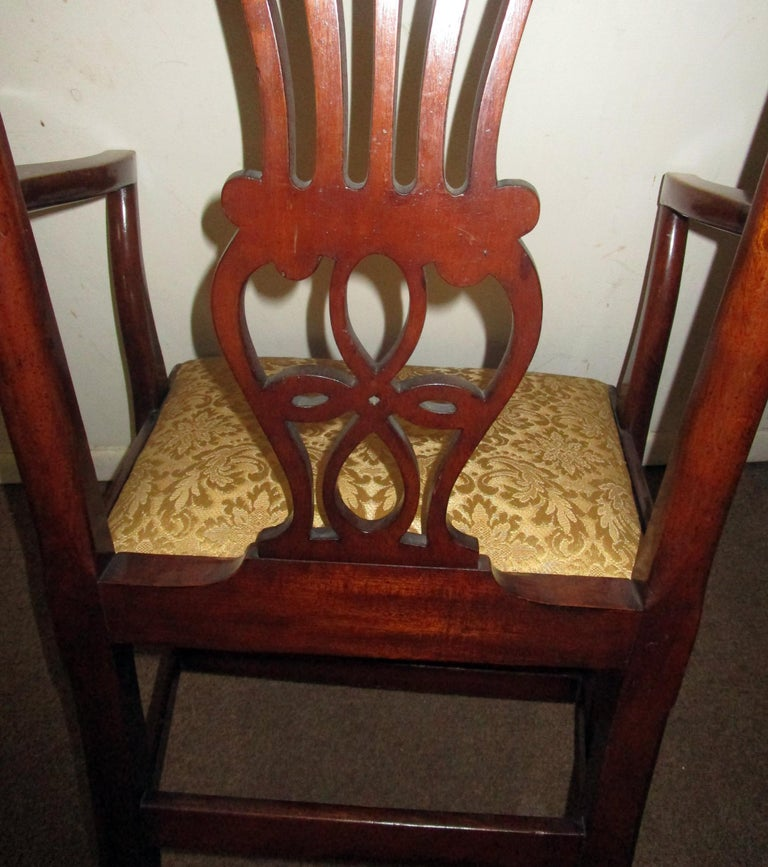 English Country Chippendale Style Mahogany Dining Chairs Set of Eight For Sale 4