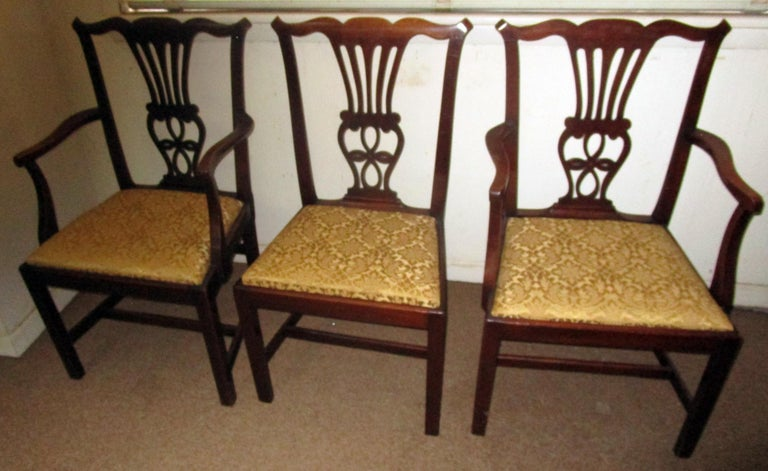 George III English Country Chippendale Style Mahogany Dining Chairs Set of Eight For Sale