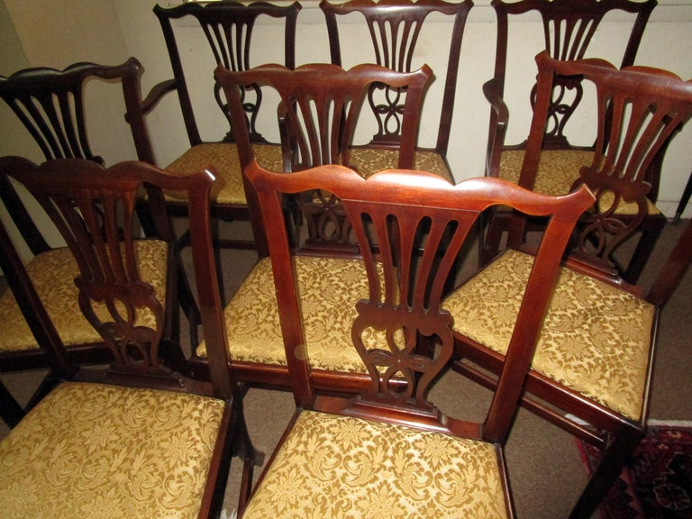 Damask English Country Chippendale Style Mahogany Dining Chairs Set of Eight For Sale