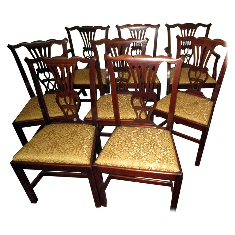 English Country Chippendale Style Mahogany Dining Chairs Set of Eight For Sale