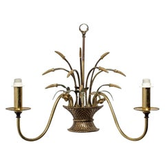 English Country Flower Basket Brass Two-Light Sconces