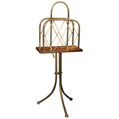 English Country House Brass and Mahogany Newspaper Rack, Late 19th Century