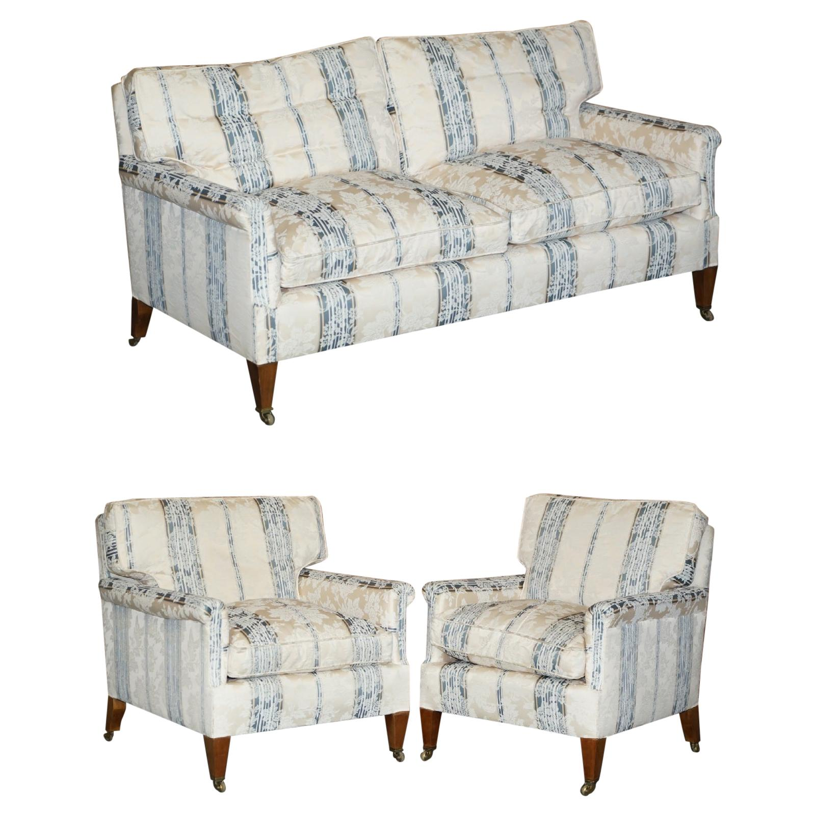 English Country House Fine Three Piece Suite Sofa & Armchairs Feather Cushions