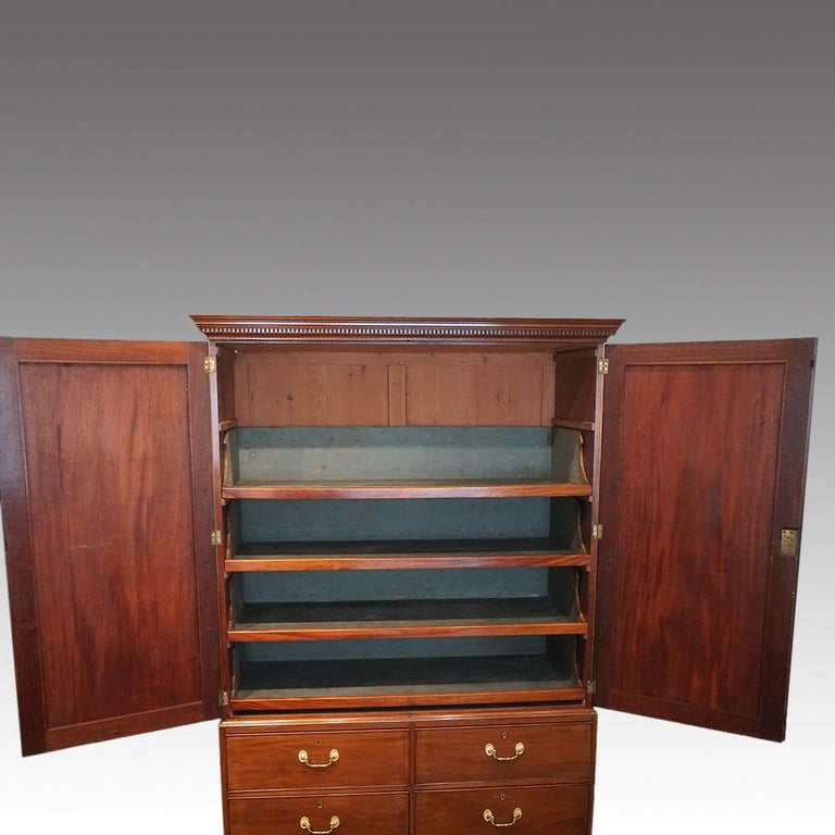 English Country House George III Mahogany Cupboard Press, circa 1795 For Sale 6