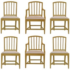 English Country House Hepplewhite Chairs in Churlish Green, Set of 6
