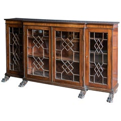 English Country House Mahogany Breakfront Bookcase