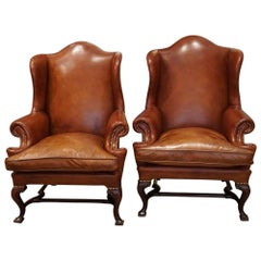 English Country House Pair of Georgian Style Leather Wing Chairs, circa 1920