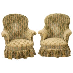 English Country House Style Upholstered Armchairs with Skirts 19th Century, Pair