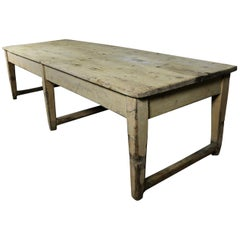 English Country House Very Large Original Painted Pine Kitchen / Dining Table