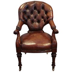 English Country House Victorian Leather Library Desk Chair, circa 1870