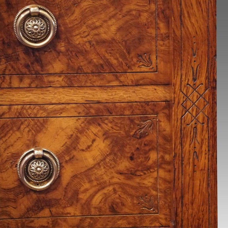 Late 19th Century English Country House Victorian Pollard Oak Wellington Chest, circa 1885 For Sale