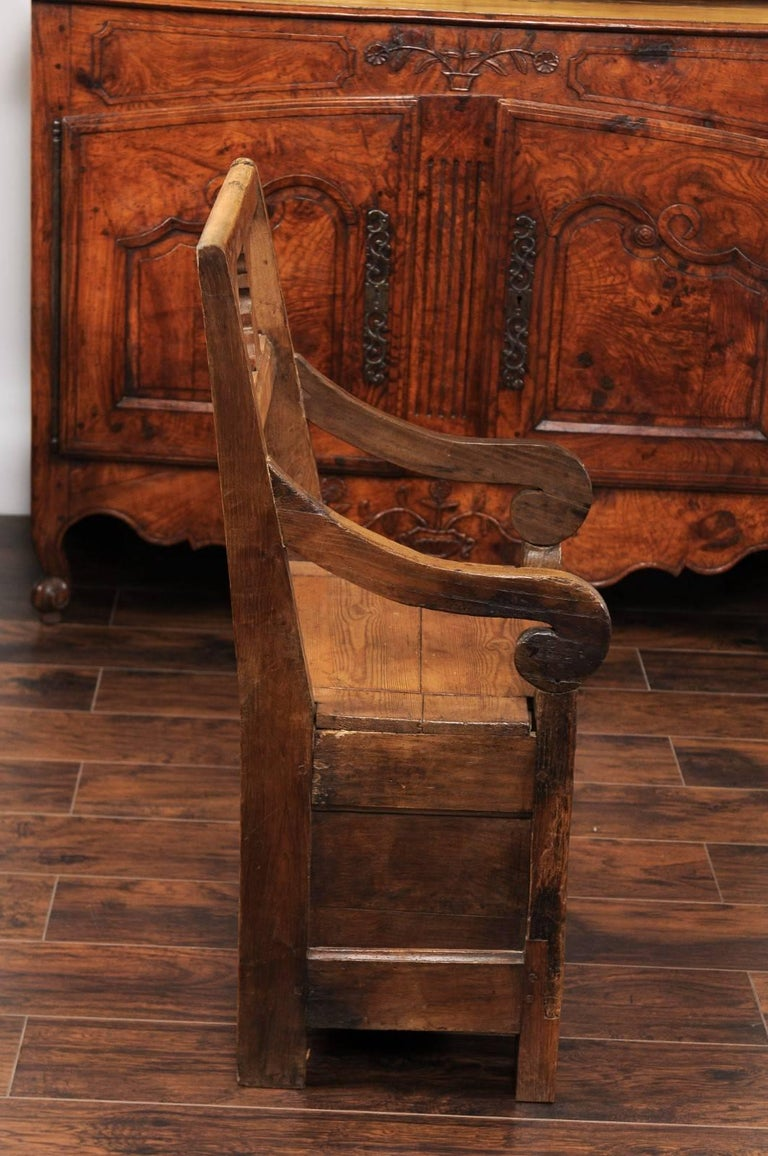 English Country Pine Chair circa 1800 with Scrolled Arms and Lift-Top Seat For Sale 5
