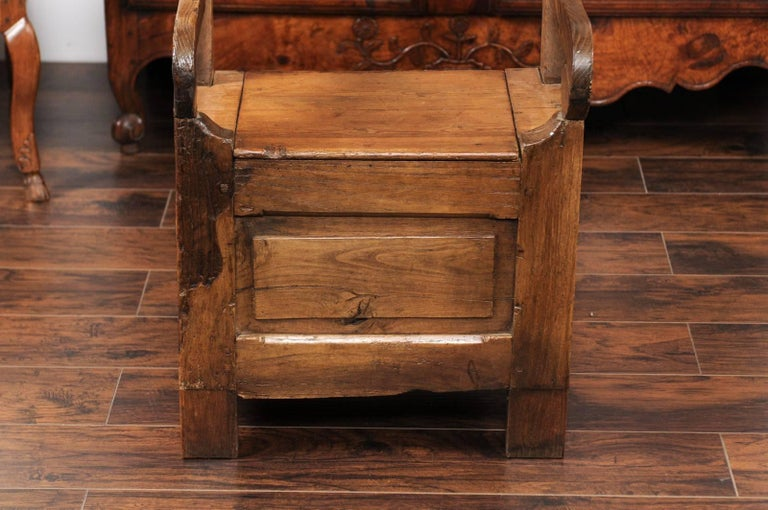 English Country Pine Chair circa 1800 with Scrolled Arms and Lift-Top Seat For Sale 6