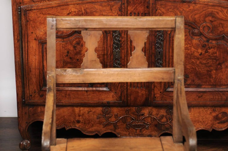 English Country Pine Chair circa 1800 with Scrolled Arms and Lift-Top Seat For Sale 7