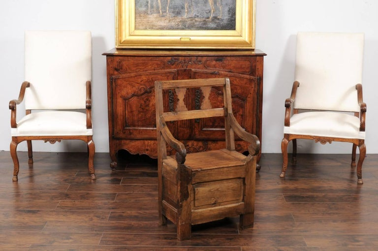 Rustic English Country Pine Chair circa 1800 with Scrolled Arms and Lift-Top Seat For Sale