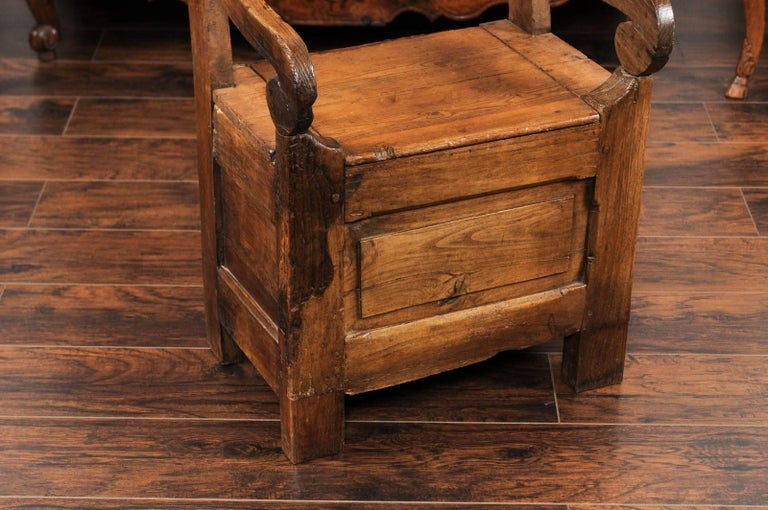 19th Century English Country Pine Chair circa 1800 with Scrolled Arms and Lift-Top Seat For Sale