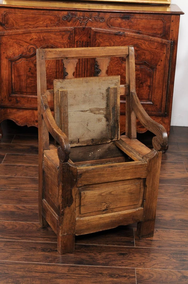 English Country Pine Chair circa 1800 with Scrolled Arms and Lift-Top Seat For Sale 1