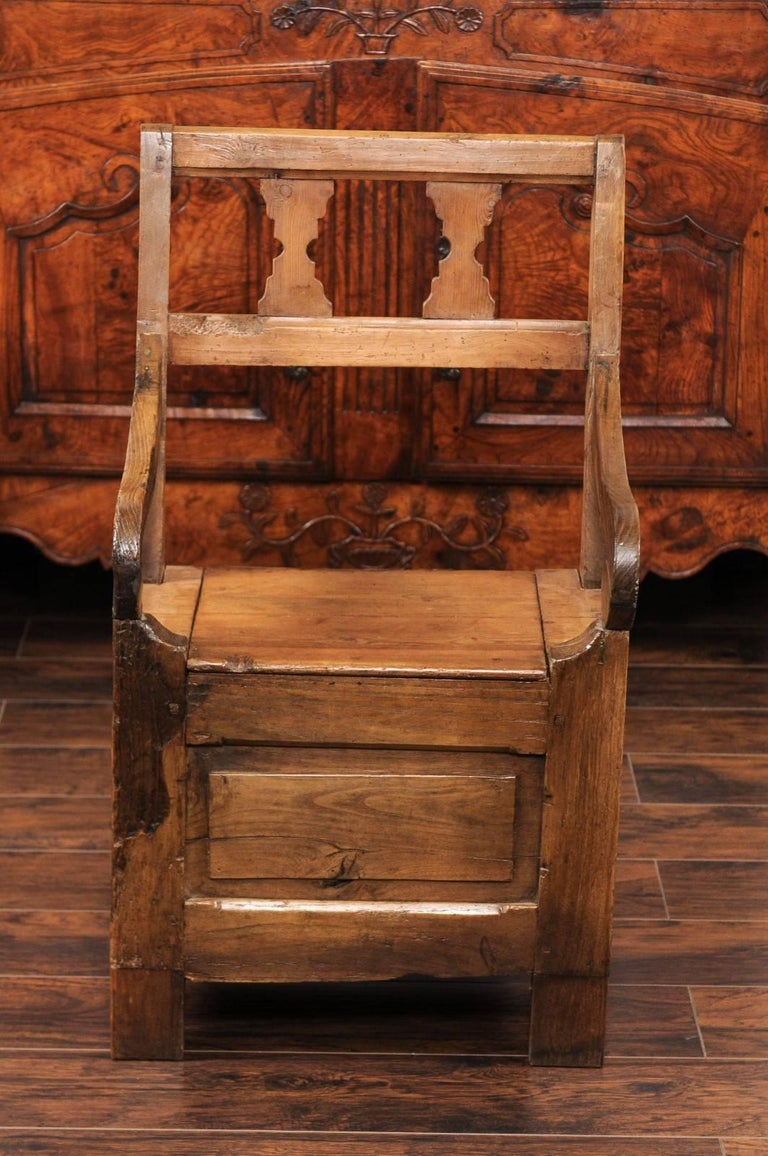 English Country Pine Chair circa 1800 with Scrolled Arms and Lift-Top Seat For Sale 2
