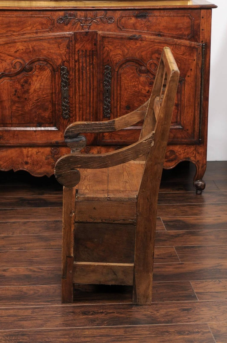 English Country Pine Chair circa 1800 with Scrolled Arms and Lift-Top Seat For Sale 3