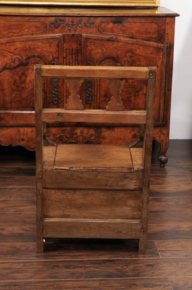 English Country Pine Chair circa 1800 with Scrolled Arms and Lift-Top Seat For Sale 4