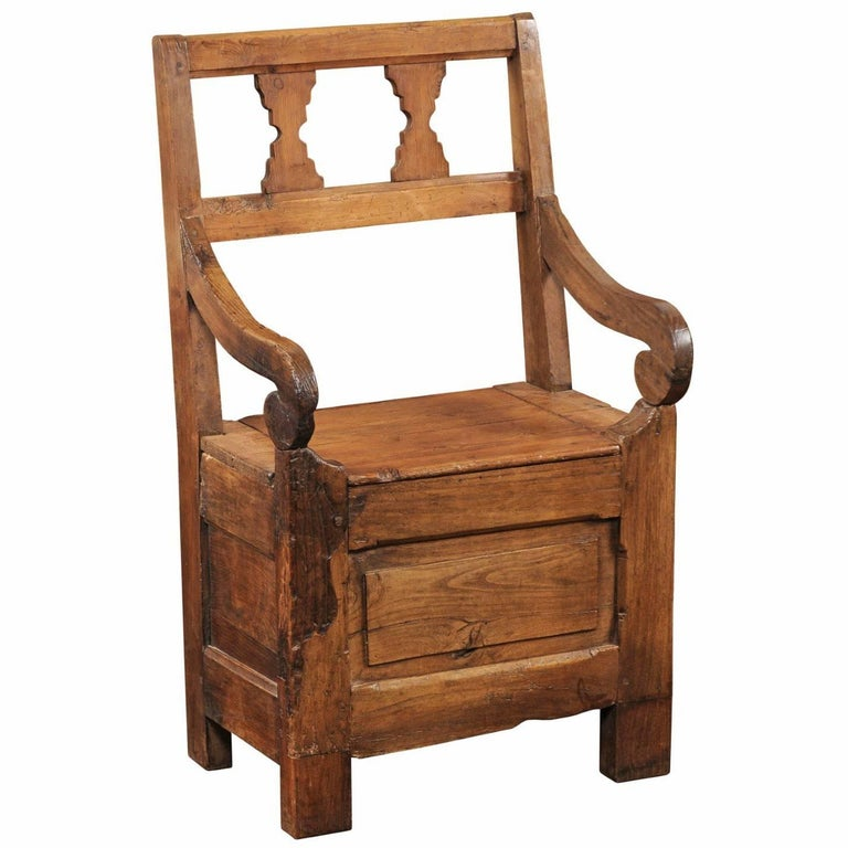 English Country Pine Chair circa 1800 with Scrolled Arms and Lift-Top Seat For Sale