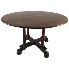 English Country Round Table with Inlaid Top
