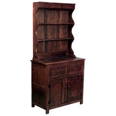 English Country Style '19th-20th Century' Dark Oak Hutch Cabinet