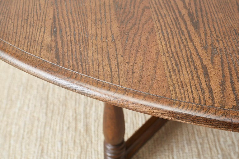English Country Style Round Oak Dining Table For Sale 4