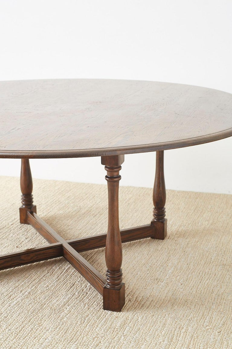 English Country Style Round Oak Dining Table For Sale 7