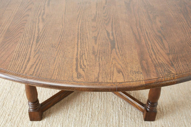 English Country Style Round Oak Dining Table For Sale 11