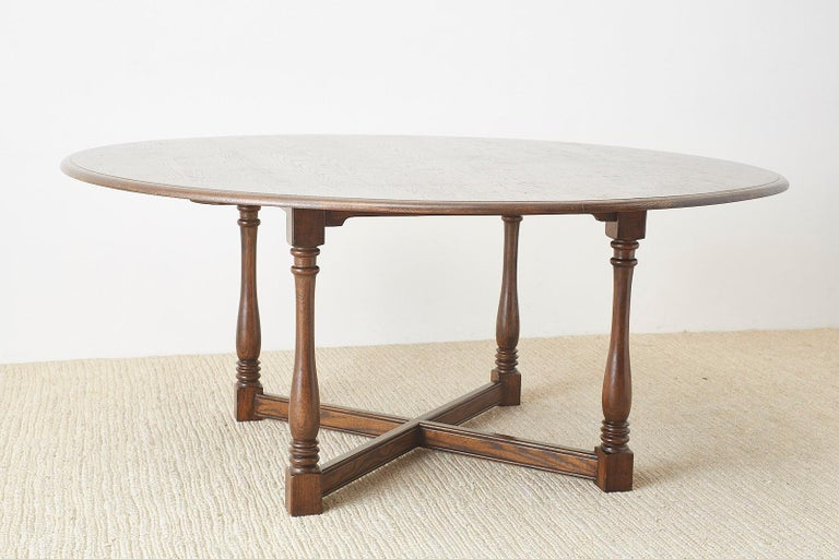 English Country Style Round Oak Dining Table For Sale 12