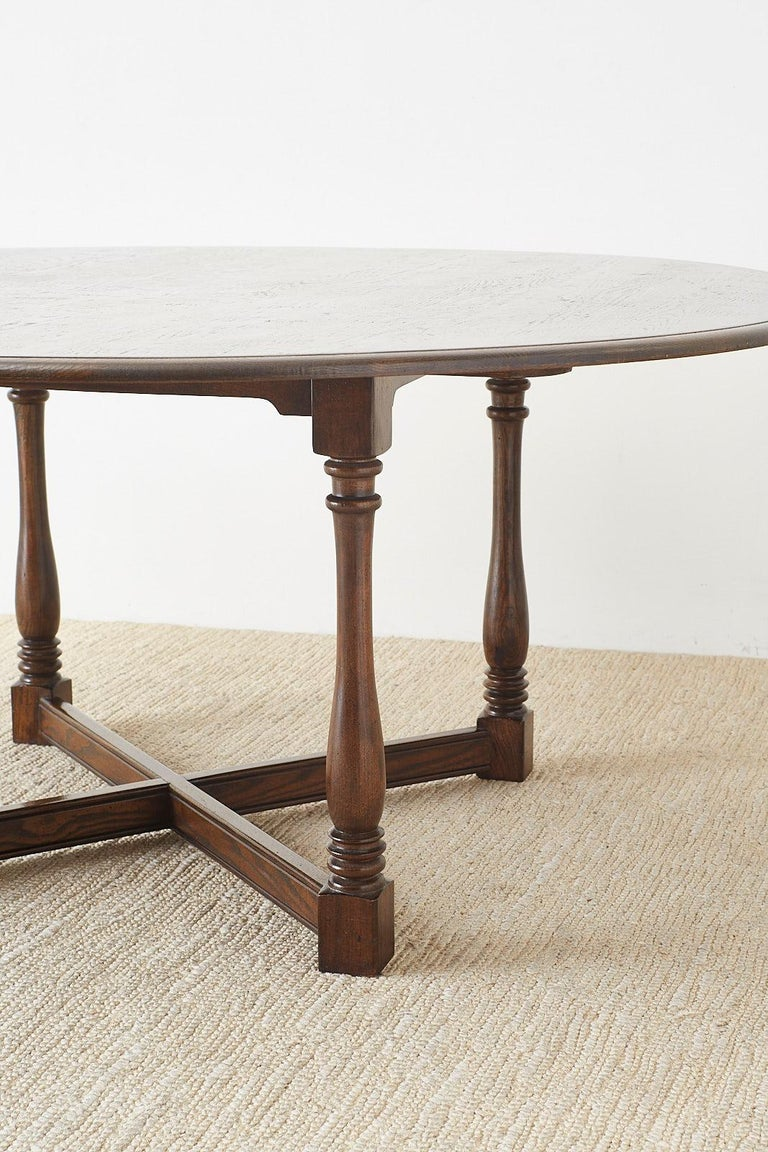 English Country Style Round Oak Dining Table For Sale 13