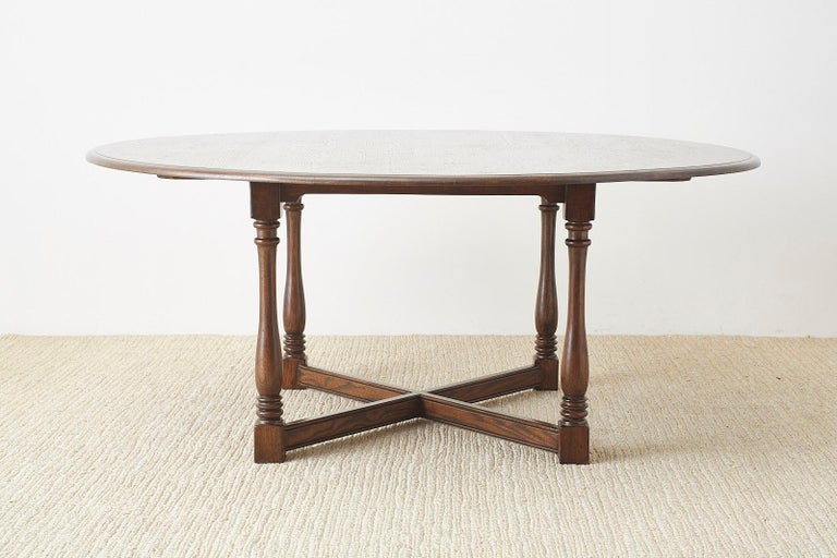 American English Country Style Round Oak Dining Table For Sale