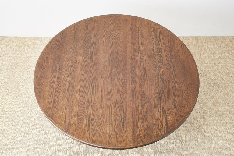 Hand-Crafted English Country Style Round Oak Dining Table For Sale