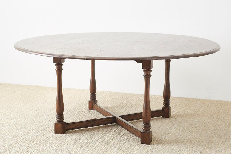 English Country Style Round Oak Dining Table For Sale 2