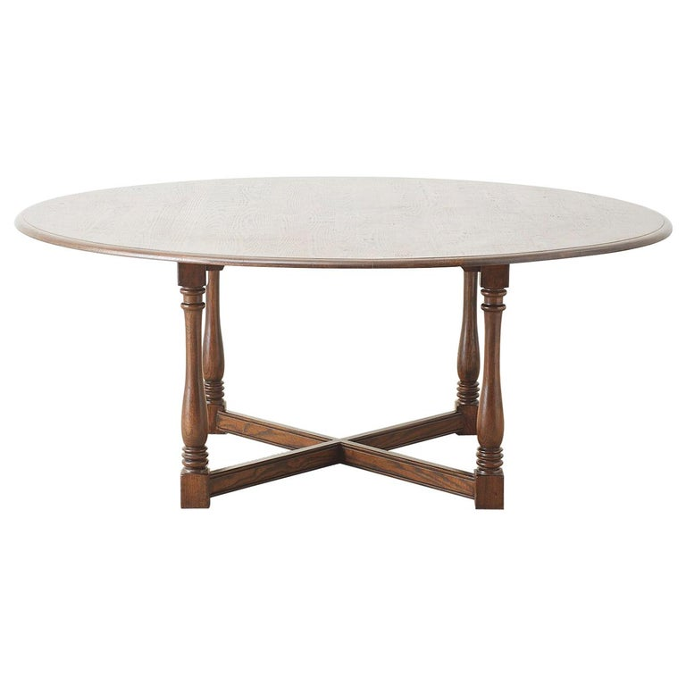 English Country Style Round Oak Dining Table For Sale