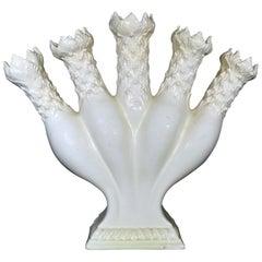 English Creamware Finger Vase or Quintel Flower Horn, Early 19th Century