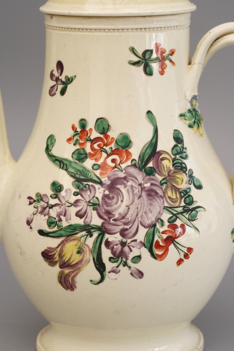 English Creamware Floral Painted Teapot and Cover, circa 1770 4